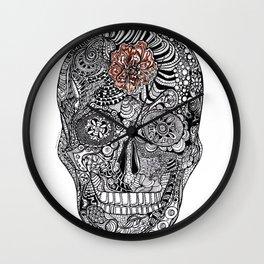 Cempazuchi Skull Wall Clock