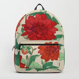 Red dahlias Backpack