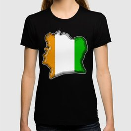 Ivory Coast Cote d'Ivoire Map with Flag T-shirt