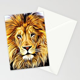 Lion head digital art Stationery Cards