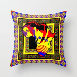 Painted Africa with Tribal Pattern - Yellow - #1 Throw Pillow
