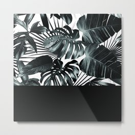 Palm Leaves and Black Metal Print