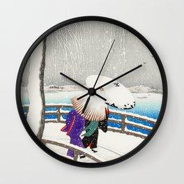 Women walking on Yanagi bridge - Japansese vintage woodblock print art Wall Clock