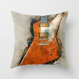 The Edge's electric guitar, guitar wall art, studio decor, music room decor, gift for guitarist Throw Pillow