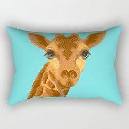Modern pixel giraffe head on cyan background Rectangular Pillow