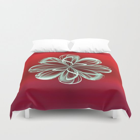 Cyan Bloom on Red Duvet Cover
