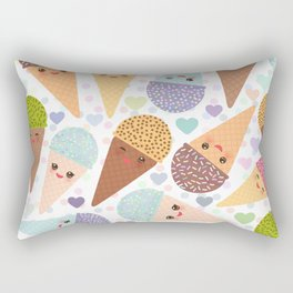 Kawaii funny Ice cream waffle cone, with pink cheeks and winking eyes Rectangular Pillow