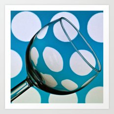 Wine Glass with Polka Dots Art Print