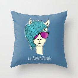LLAMAZING llama Throw Pillow