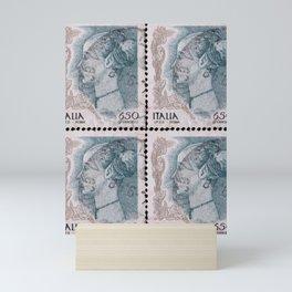 90's italian post stamp, reinassance woman profile portrait Mini Art Print