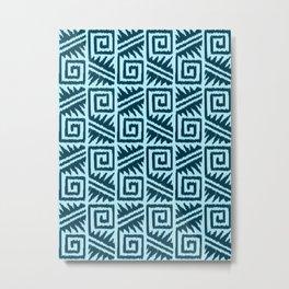 Ikat Aztec Tribal, Indigo and Light Blue Metal Print