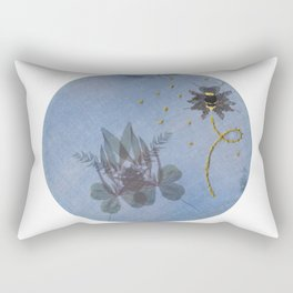 Embroidered Ghostly Bee With Anthotype Cicada Rectangular Pillow