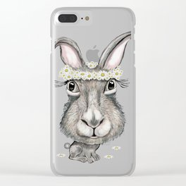 Rabbit with Flower Clear iPhone Case