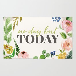 No Day But Today Stripey Watercolor Floral Rug
