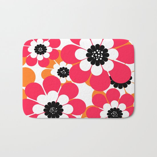 The floral pattern . red and yellow on a white background . Bath Mat