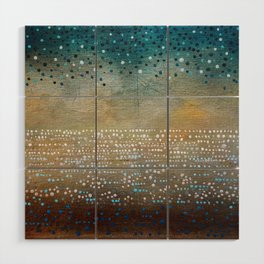 Landscape Dots - Turquoise Wood Wall Art