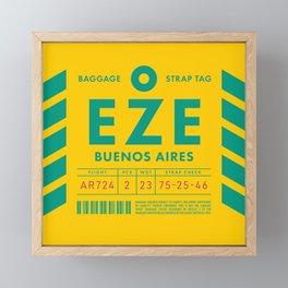 Baggage Tag D - EZE Buenos Aires Ezeiza Argentina Framed Mini Art Print