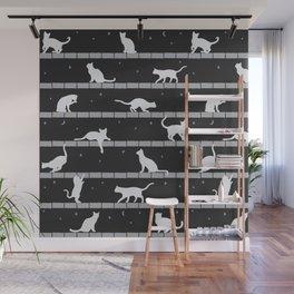 Cats Pattern (B&W) Wall Mural