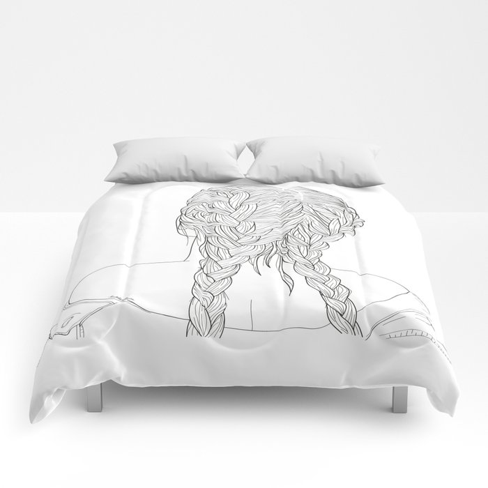 Woman with braids Comforters