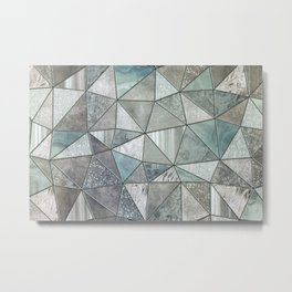 Teal And Grey Triangles Stained Glass Style Metal Print