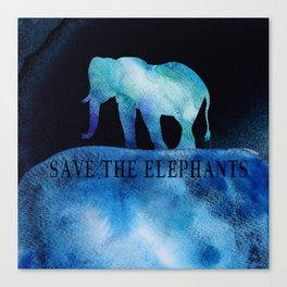 Save The Elephants Watercolor Painting Canvas Print