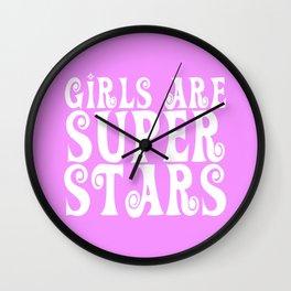 Girls Are Super Stars - Pink Wall Clock
