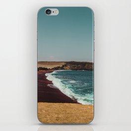 Red Beach 'Playa Roja' in the Paracas desert meets the Pacific Ocean in Peru iPhone Skin