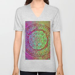 Happy Boho Mandala Pink & Green Dayglo Unisex V-Neck