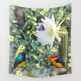 Cactus Flower Meeting Wall Tapestry