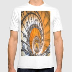 The Spiral Staircase White Mens Fitted Tee MEDIUM