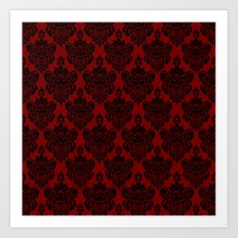 Crimson and Black Damask Kunstdrucke