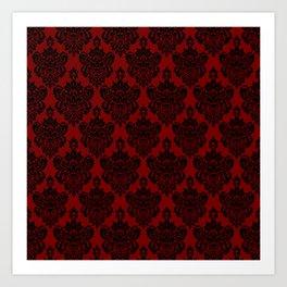 Crimson and Black Damask Art Print