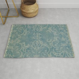 Antique rustic teal damask fabric Rug