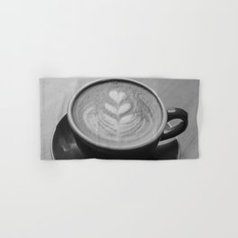 Cafe Heart - Black and White Hand & Bath Towel