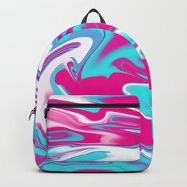 Aqua Magenta Marble Abstract wave Graphic design Backpack