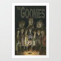 the goonies Art Prints featuring The Goonies by Patt Kelley