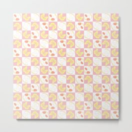 Peanut Checkered Pattern Metal Print