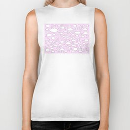 Pink sky with little clouds of caricatures Biker Tank