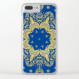 golden mandala on the dark blue background Clear iPhone Case