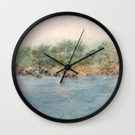 East Coast 1 Medium Color Tone, Coastal Sentiments, Oil Pastel Drawing Wall Clock