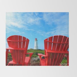 Lighthouse and chairs in Red White and Blue Throw Blanket