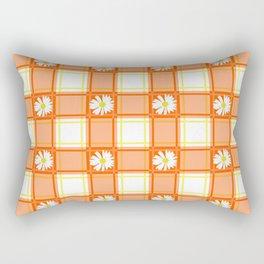 Daisies on Orange Plaid Rectangular Pillow
