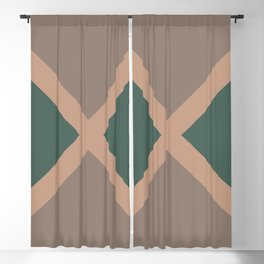 Brown Green Minimal Diagonal Line Pattern 2021 Color of the Year Canyon Dusk & Accent Shades Blackout Curtain