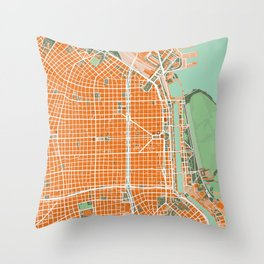 Buenos Aires city map orange Throw Pillow