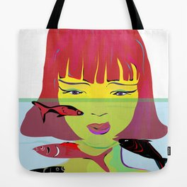 """Redhead Worry"" Paulette Lust's Original, Contemporary, Whimsical, Colorful Art Tote Bag"