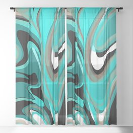 Liquify 2 - Brown, Turquoise, Teal, Black, White Sheer Curtain