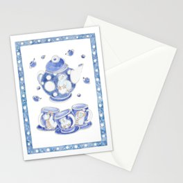Polar bears winter tea set character. Сhildren`s illustration. Baby picture. Watercolor on white.  Stationery Cards