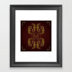 Letter M seahorse monogram Framed Art Print