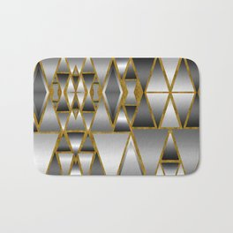 Gray Ombre Abstract Geometry Bath Mat