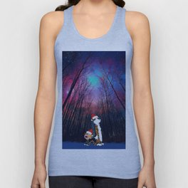 calvin and hobbes nebula night Christmas Unisex Tank Top